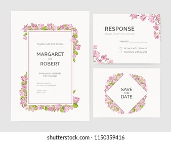 Set of gorgeous wedding invitation, save the date and response card templates decorated by magnolia tree flowers hand drawn on white background. Natural vector illustration for event celebration
