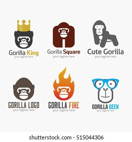 Set of Gorilla Logo Design Template. Vector illustration with flat style