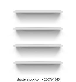 Set of gorizontal white bookshelves for your design
