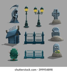 Set of gothic cemetery decorations. Vector illustration.