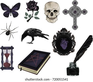 Set of Gothic  Icons -Stylized vector icon for design