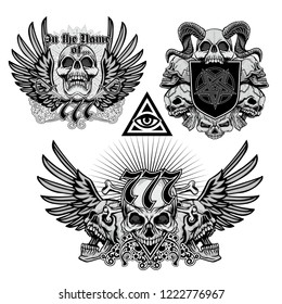 set Gothic sign with skull, grunge vintage design t shirts