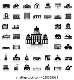 Set of Government Building black icons and silhouettes