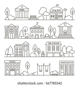Set of Government Buildings. Vector City and Town Illustration in Linear Style - Bank, City Hall, University, Circus, Theater, Post Office, Fire Station, School, Kindergarten.