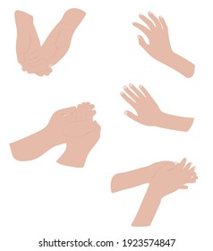 Set of graceful female hands in different poses