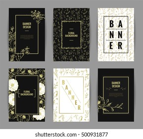 Set of graceful floral banner template design. Invitation posters with black and gold flowers and floral patterns. Vector illustration
