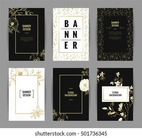 Set of graceful floral banner template design. Invitation posters with black and gold flowers and floral seamless patterns. Vector illustration