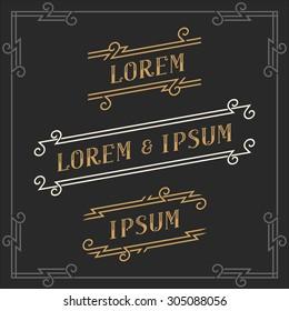 The set of graceful vintage emblems and logos templates. Elegant retro business sign, identity, label. Vector Illustration.