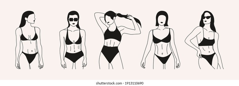 Set of graceful women. Abstract art of beautiful girls. Hand drawn outline graphic icons, female logos. Vector trendy fashion illustration