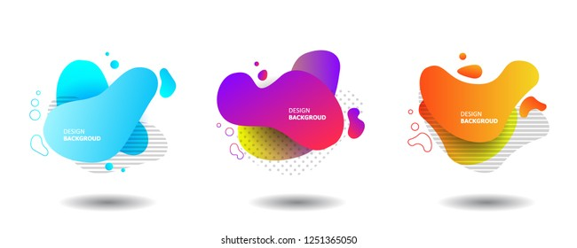 Set of Gradient abstract banners with flowing liquid shapes. Template for the design of a logo, flyer or presentation. Vector.