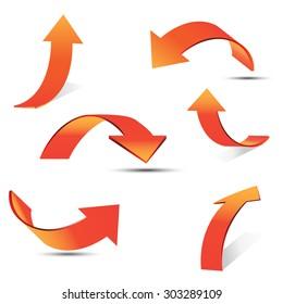 Set of gradient arrow stickers