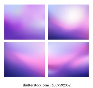 Set of Gradient purple background. Blurred Violet backdrop. Vector illustration for your graphic design, banner, poster, card
