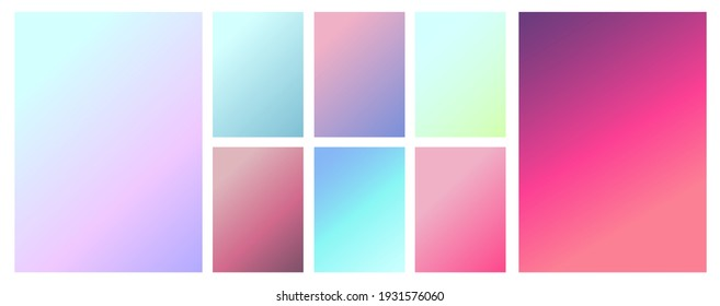 A set of gradient textures in soft, delicate retro colors. Blurring colors. Background Gradient for app design, website pages, paper and fabric prints. Vector image