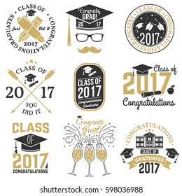 Set of Graduation Class of 2017 badges. Concept for shirt, print, seal, overlay or stamp, greeting, invitation card. Vector illustration