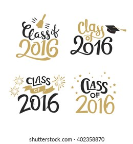 Set of graduation labels. Vector isolated elements for graduation design, congratulation event, party, high school or college graduate. Hand drawn lettering Class of 2016 for greeting, invitation card