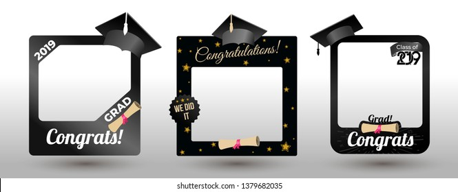 Set of graduation party photo booth props. Concept for selfie. Frame with cap for grads. Congradulation grad quote. Vector illustration. Isolated on white background.