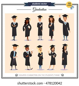 Set of graduation students isolated on background.Different nationalities.Cute and flat cartoon style. Young guys and girls. Students characters. People in academic cap and gown.Concept of education.