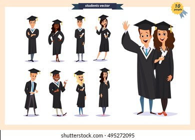 4fe57c25935 Set of graduation students isolated on background.Different  nationalities.Cute and flat cartoon style