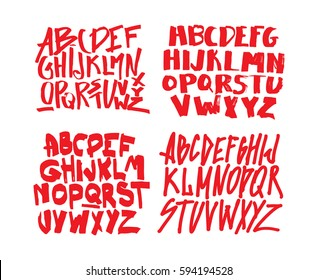 Set of graffiti alphabets. Font for your design. Hand drawn calligraphy lettering alphabet. Stylish letters. Vector illustration.