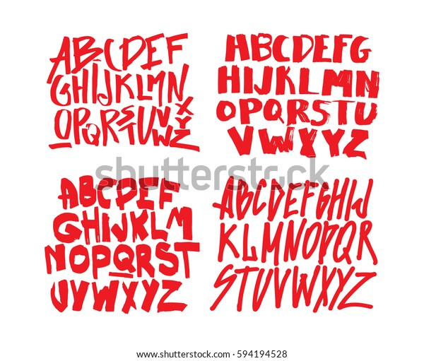 Set Graffiti Alphabets Font Your Design Stock Vector (Royalty Free