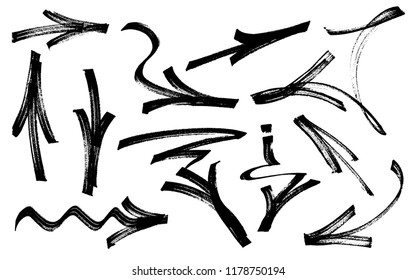 Set of graffiti arrows drawn by a marker. Vector illustration EPS 10