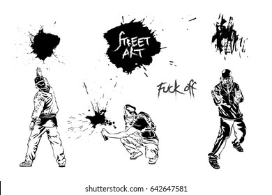 Set graffiti art. Artists, signs and splashes. Collection street art elements. Vector illustration