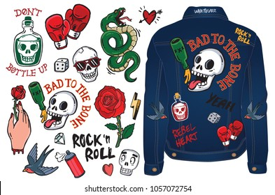 A set of graffiti doodles and badges to draw or embroider on to fashion items like denim jackets. Vector illustrations.