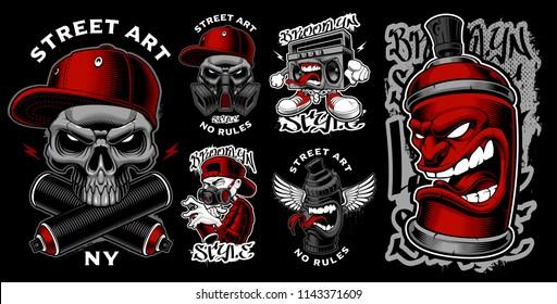 Set of graffiti illustrations, stickers, badges. Vector design of street art characters.