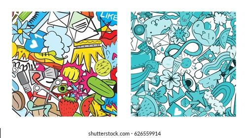 Set of Graffiti pattern with urban lifestyle line icons. Crazy doodle abstract vector background. Trendy linear style collage with bizarre street art elements.