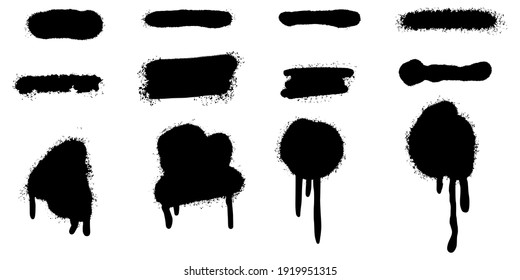 Set of graffiti Spray painted lines and grunge dots isolated on white background. vector illustration.