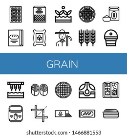 Set of grain icons such as Bagel, Bread, Beans, Seeds, Crops, Farmer, Coffee beans, Wheat, Flour, Fertilizer, Seeder, Corn, Bun, Crop, Loaf, Seed, Agriculture , grain