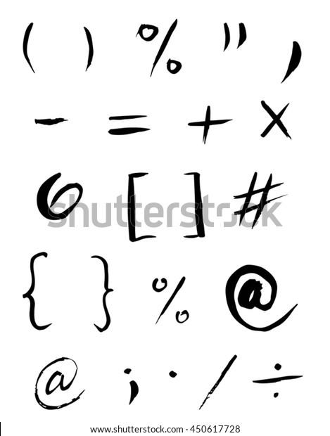 Set of grammar signs, symbols, icons. at sign, columns, apostrophe