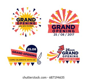 Set of grand opening announcements