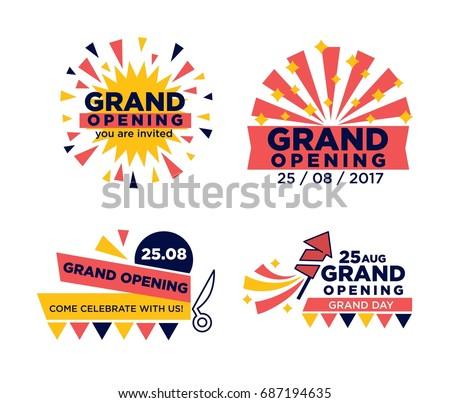 set grand opening announcements のベクター画像素材 ロイヤリティ
