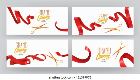 Set of GRAND OPENING banners with red silk ribbons  and scissors