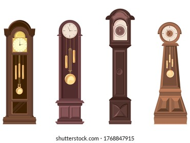 Set of grandfather clocks. Beautiful vintage objects in cartoon style.