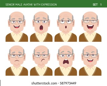Set of grandpa facial emotions. Senior male cartoon style character with different expressions. Vector illustration. Set one of six.