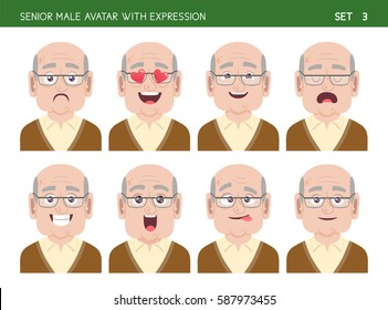 Set of grandpa facial emotions. Senior male cartoon style character with different expressions. Vector illustration. Set three of six.