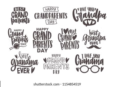Set of Grandparents Day inscriptions or letterings isolated on white background. Bundle of festive wishes and slogans written with elegant cursive fonts. Monochrome decorative vector illustration