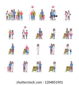 set grandparents parents children, multi generation family, full length avatar on white background, happy family together concept, tree of genus flat cartoon vector illustration