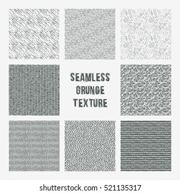 Set of grange seamless patterns. Simple vector scratch textures with dots, strokes and doodles