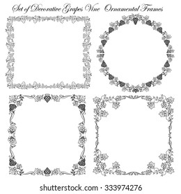 Set of Grapes and Vine design elements