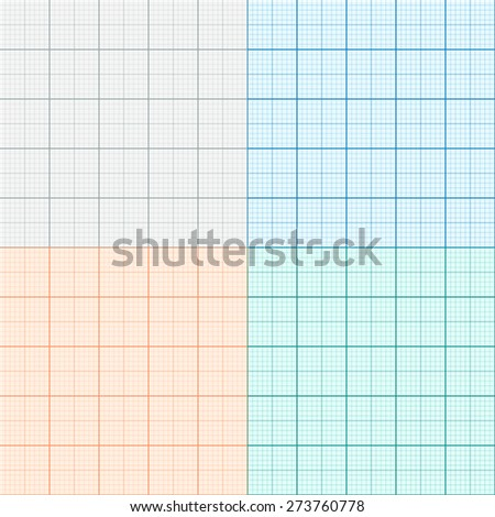 set graph paper four colors plotting stock vector royalty free