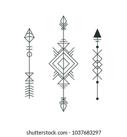 Set of graphic arrows for tattoo design. Vector minimalism, geometry, hipster design elements.