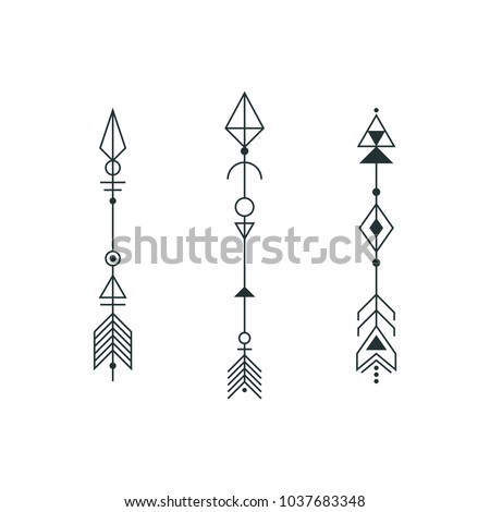 Set Graphic Arrows Tattoo Design Vector Stock Vector Royalty Free