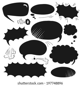 Set of graphic comics speech bubbles, vector templates clouds for text, black on white background