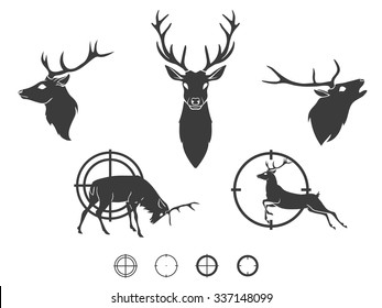 Set of graphic design deer head silhouette with weapon black on white background. Vector illustration