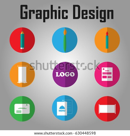 648b070fc Set Graphic Design Elements Flat Icons Stock Vector (Royalty Free ...
