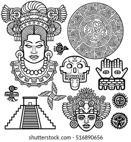 Set of graphic elements based on motives of art Native American Indian. Monochrome linear drawing isolated on a white background. Vector illustration.