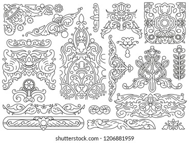 Set of graphic elements with floral motifs in old Russian style